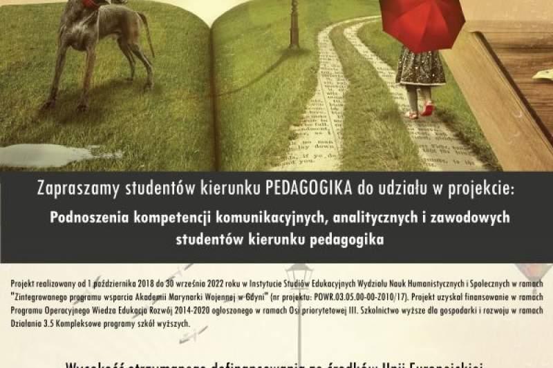 Zapraszamy studentów kierunku PEDAGOGIKA do udziału w projekcie!