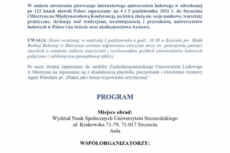 """MIĘDZYNARODOWA KONFERENCJA  pt. """"100 lat uniwersytetów ludowych w wolnej Polsce 1921-2021"""